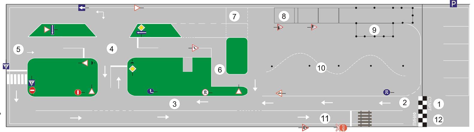 Площадка автошколы схема